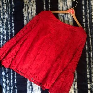 Laundry by Shelli Segal Red Lace Peplum Sleeve Top